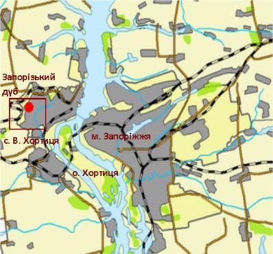 Місце зростання Запорізького дубу в межах сучасного м. Запоріжжя