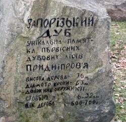 Камень-монумент про віковий дуб