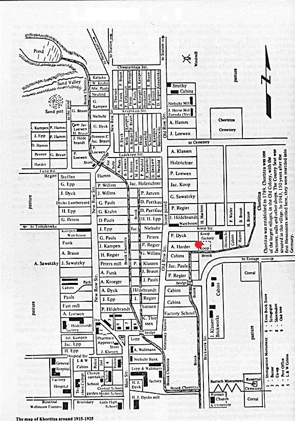 План колонії Хортиця в 1915–1925 рр